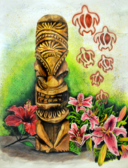 Tiki Statue and Flowers